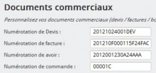 Paramétrage du numérotation des documents